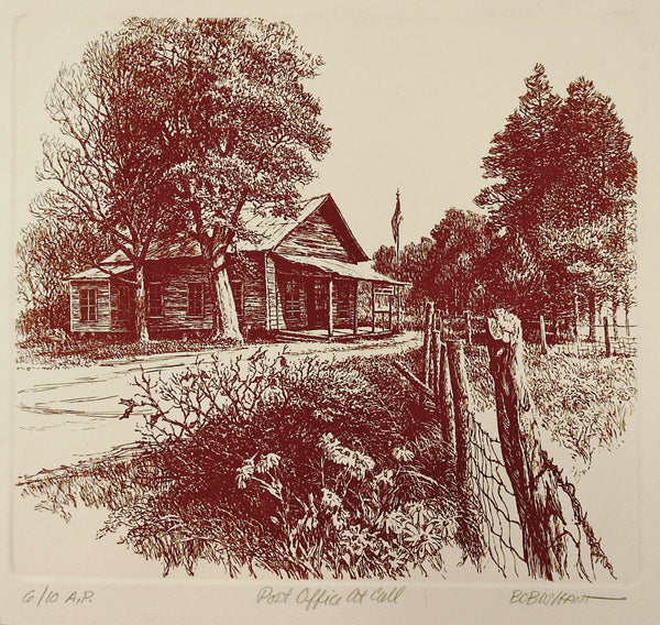 Bob Wygant Etching Post Office At Call Texas Print