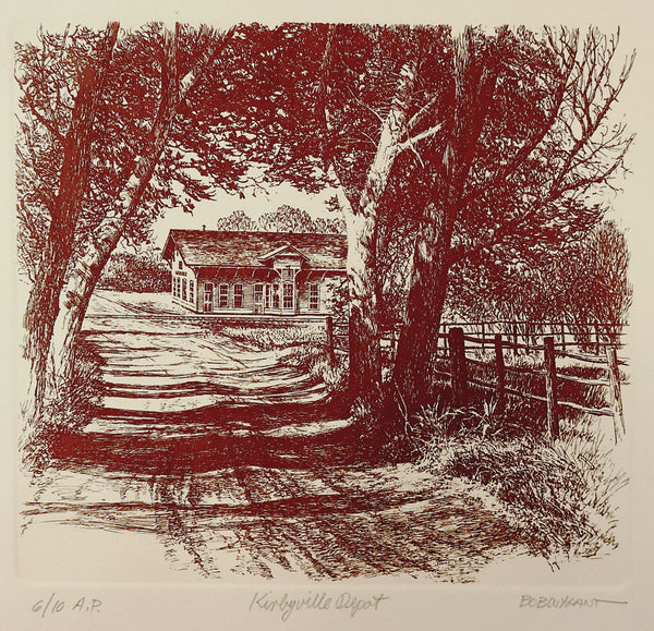 Bob Wygant Etching Kirbyville Texas Train Depot Print