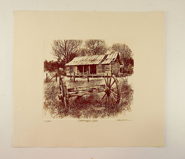 Bob Wygant Etching Sharcroppers Cabin Print