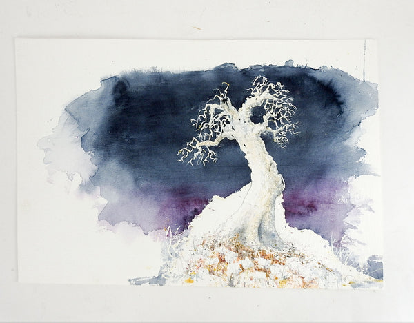 Lone Tree Watercolor Painting