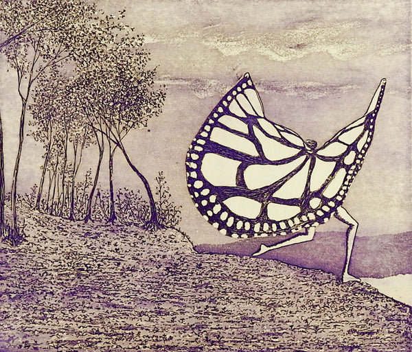 Surreal Butterfly Person Etching