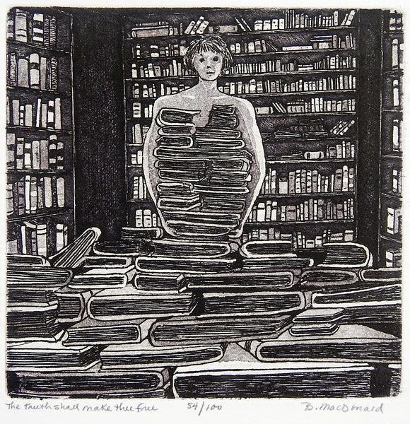 Library & Books Etching