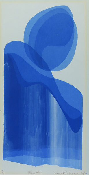 Study In Blue Abstract Serigraph