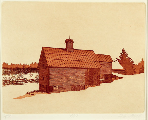 Barn Etching By Alleyne Howell