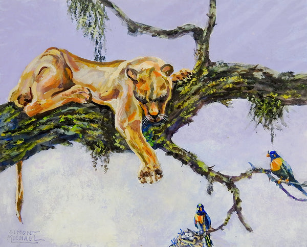 Lazy Mountain Lion Painting By Simon Michael