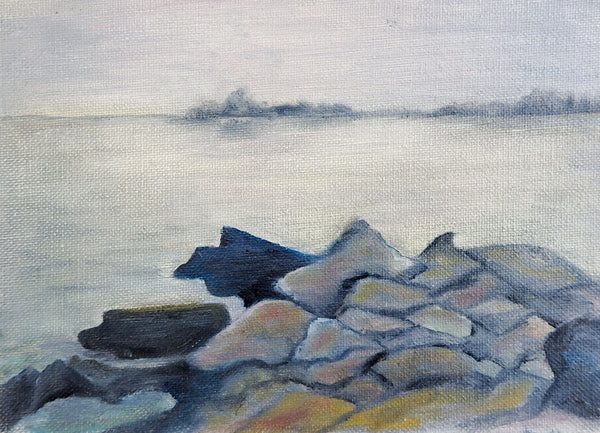 Rocky Gray Beach Painting