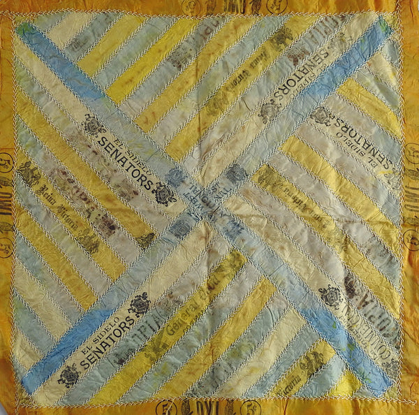 Antique Quilt Block Hand Embroidered Silk Cigar Ribbon