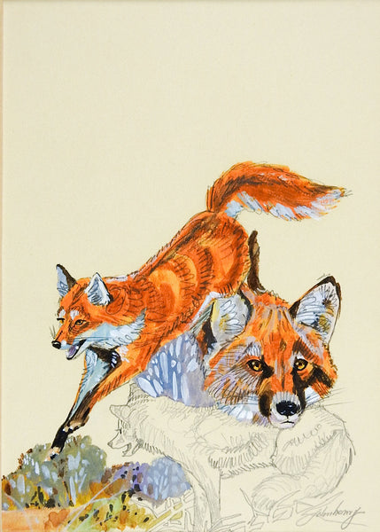 Red Fox Gouache Painting By John Henry