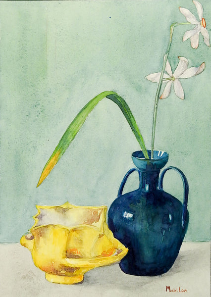 Blue Vase Still Life With Daffodils Watercolor Painting