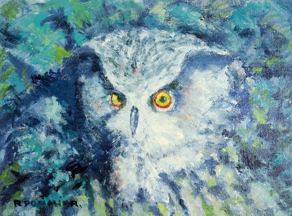 Night Owl In Blue Painting