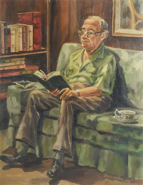 Reading In The Library Painting