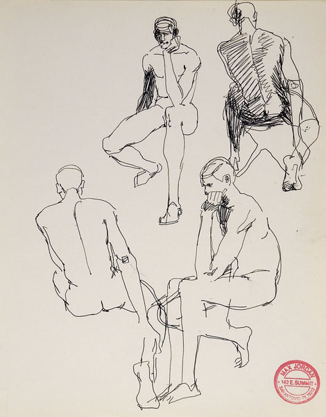 Max Jordan Male Nude Studies Drawings