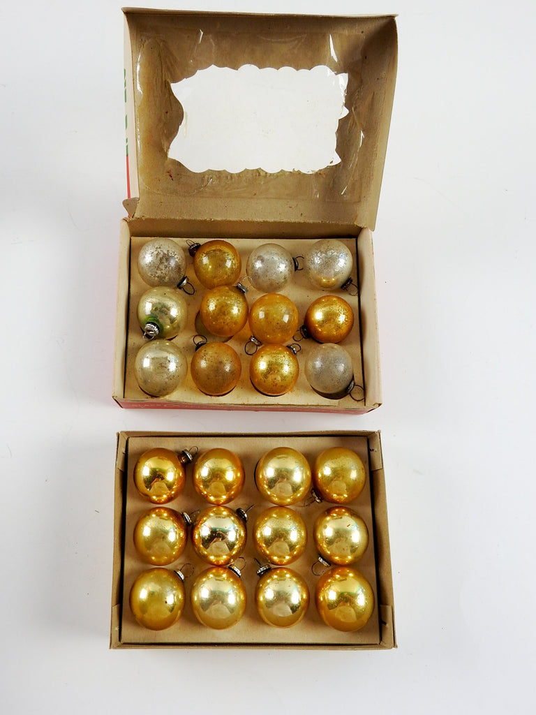 Gold Silver Vintage Christmas Ornaments Set Of 24