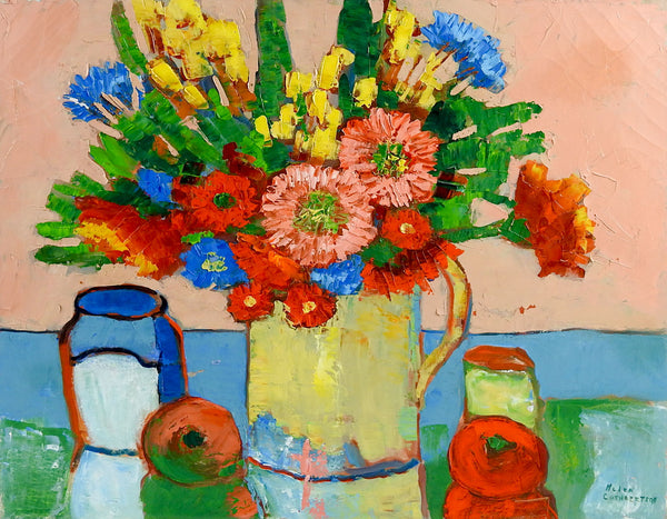 Vibrant Modernist Floral Still Life Painting
