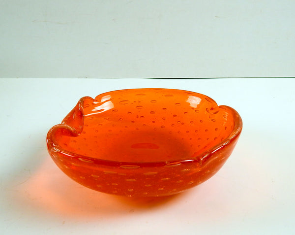 Orange Bubble Murano Glass Bowl
