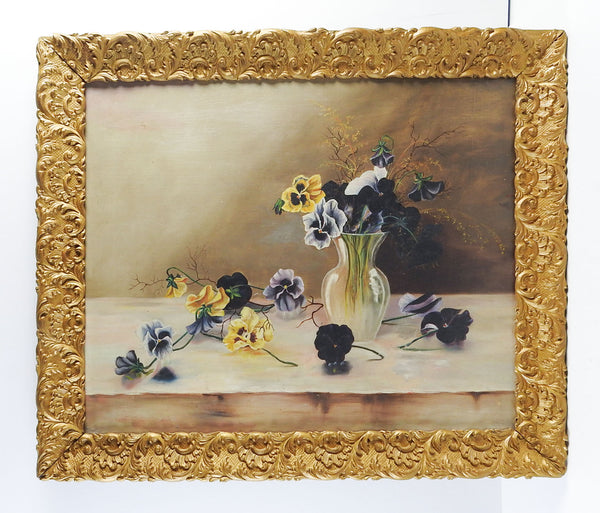 Pansies Still Life Antique Painting
