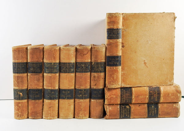 1886 Leather Medical Reference Books - Set of 9