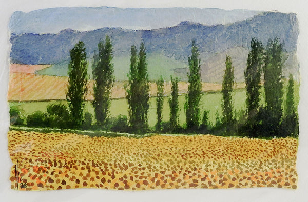 Poplars & Yellow Fields Watercolor Painting