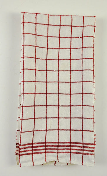 Red & White Check Linen Hand Towel
