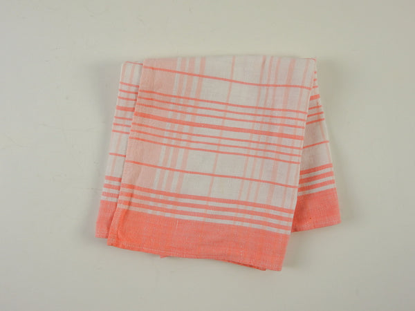 Peach Check Vintage Cotton Hand Towel