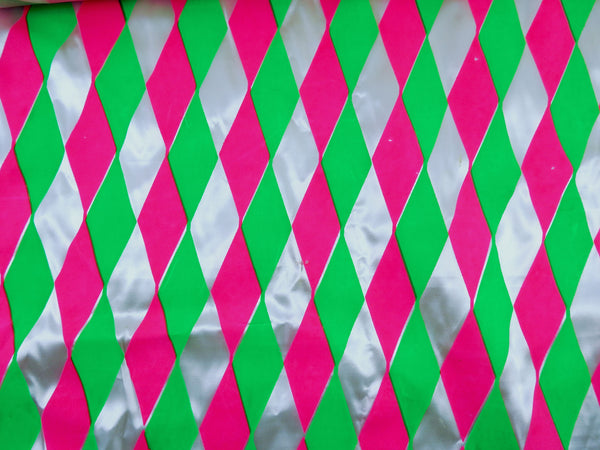 Retro Neon Pink Green Satin 3 yards