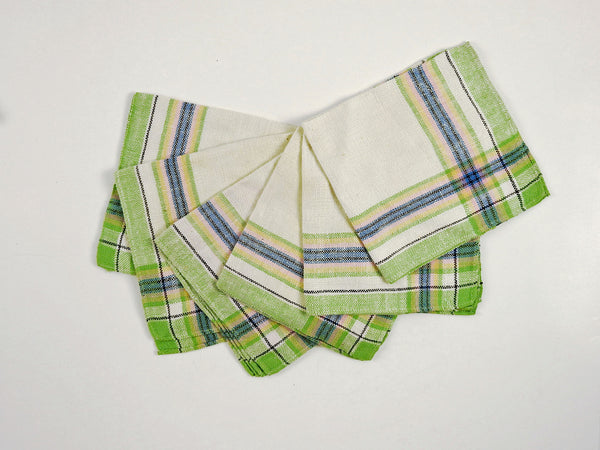 Vintage Cotton Plaid Napkins - Set of 6