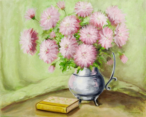 Pink Floral Still Life Painting