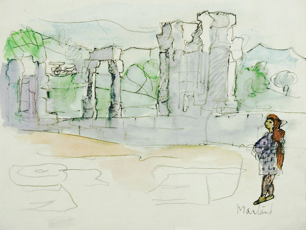 Ancient Ruins Watercolor Study