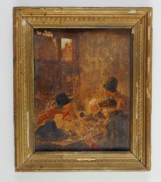Distressed 19th Century Drinking Scene Painting By Claus Meyer