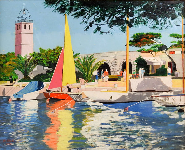 French Harbor Scene Painting
