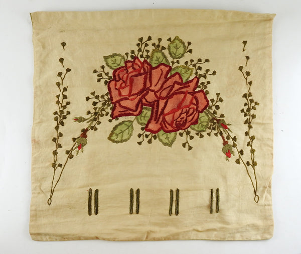 Circa 1910 Hand Embroidered Roses Pillow Cover