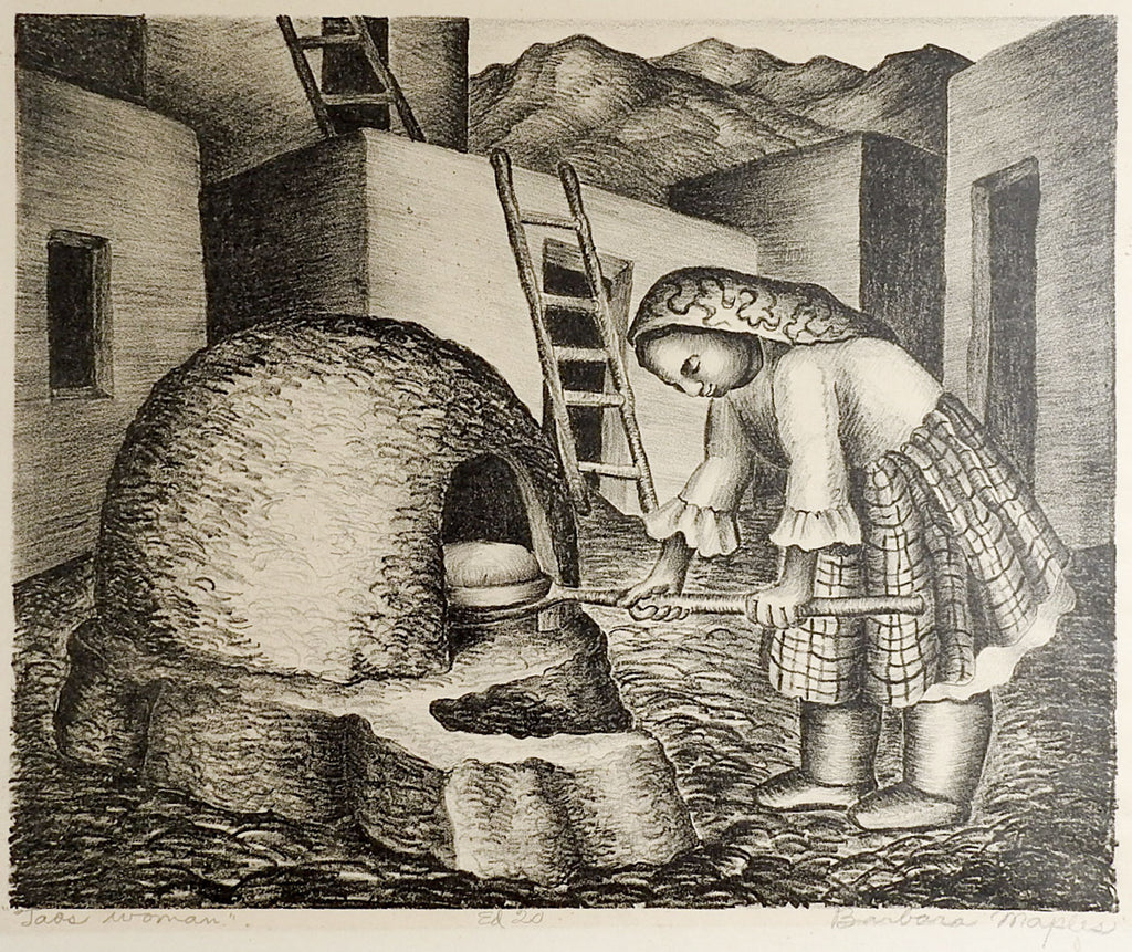 Taos Woman By Barbara Maples Lithograph Print