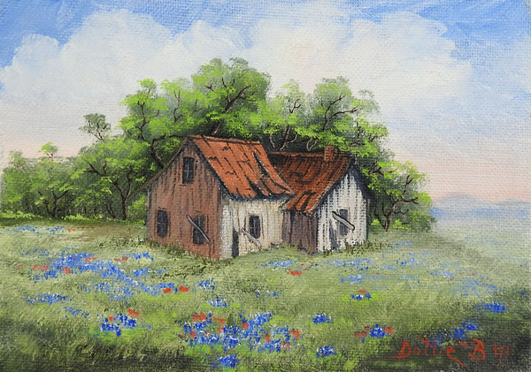 Small Rustic Farm House & Bluebonnets Painting