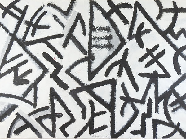 Abstract Geomentric Black & White Painting on Paper