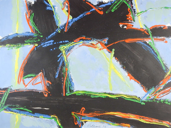 Bold Abstract Black & Blue Painting on Paper