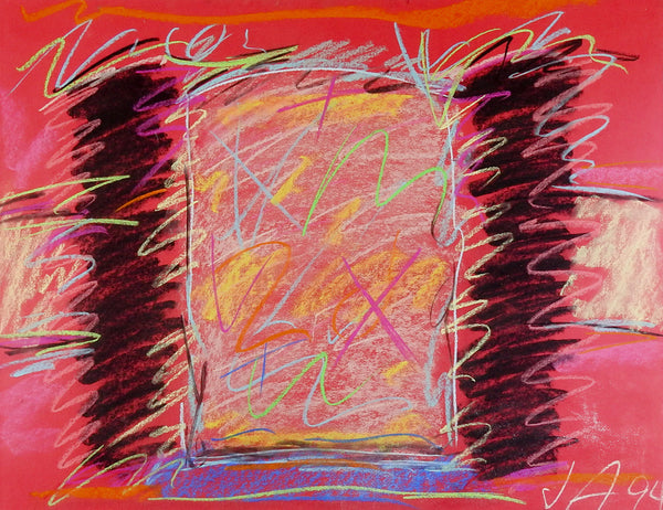 Bold Pink & Black Abstract Pastel Drawing