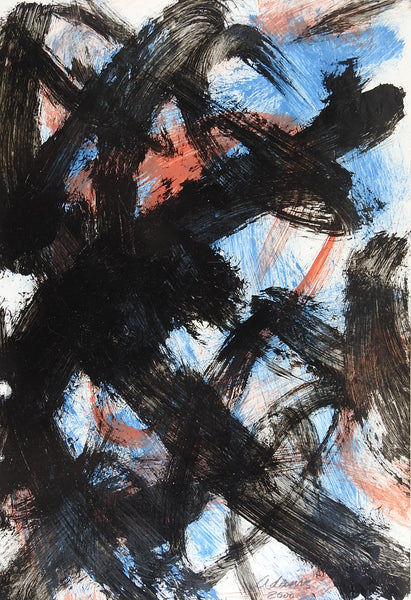 Abstract Bold Black Painting on Paper