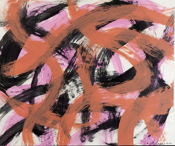 Abstract Pink & Black Painting on Paper
