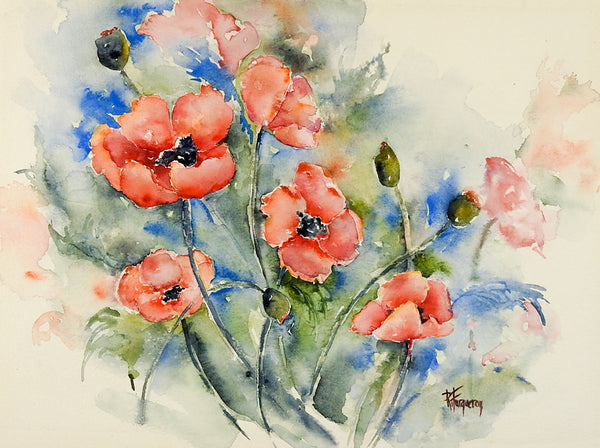 Garden Poppies Watercolor