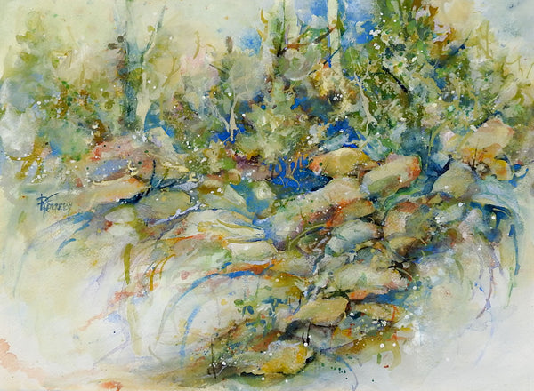 Rocky Forest Landscape Watercolor