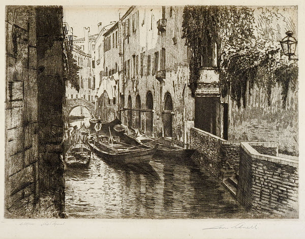 Rio S'Aponal Venice Italy Etching
