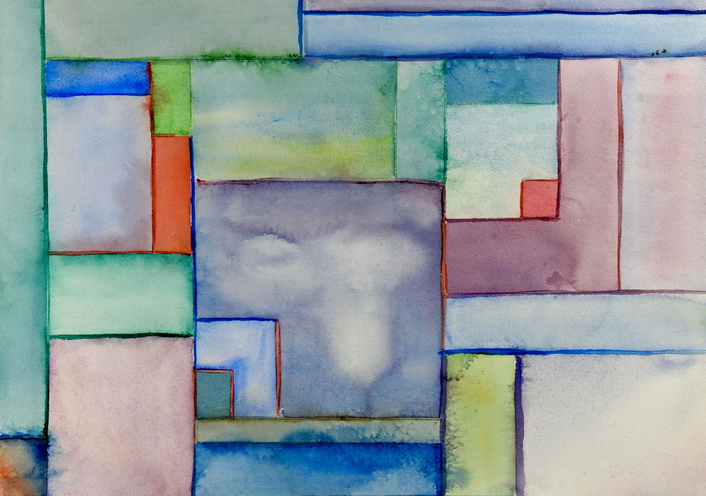 Color Block Abstract Watercolor Painting Artifax Antiques Design