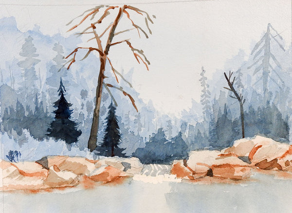 Plein Air Mountain Lake Watercolor Painting