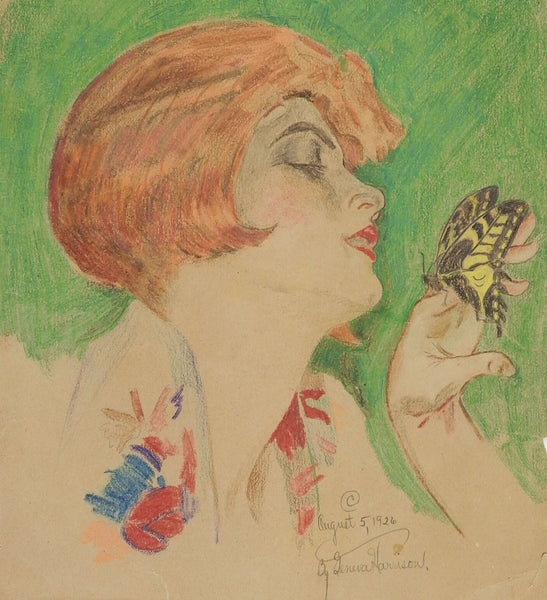 Circa 1920's Woman & Butterfly Drawing
