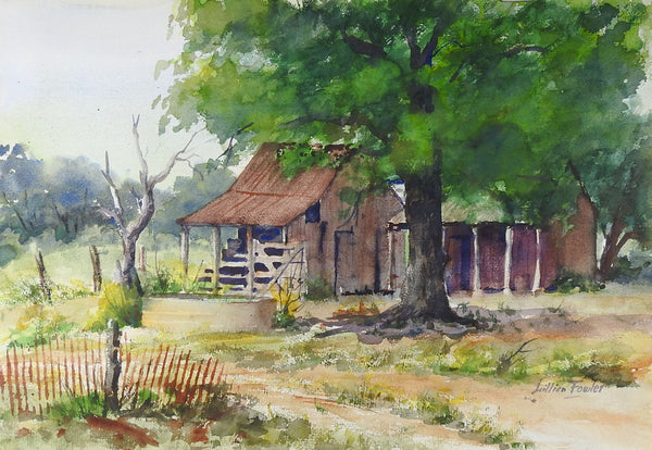 Texas Hillcountry Homestead Watercolor Painting