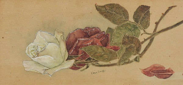 Red & White Roses Painting Circa 1900