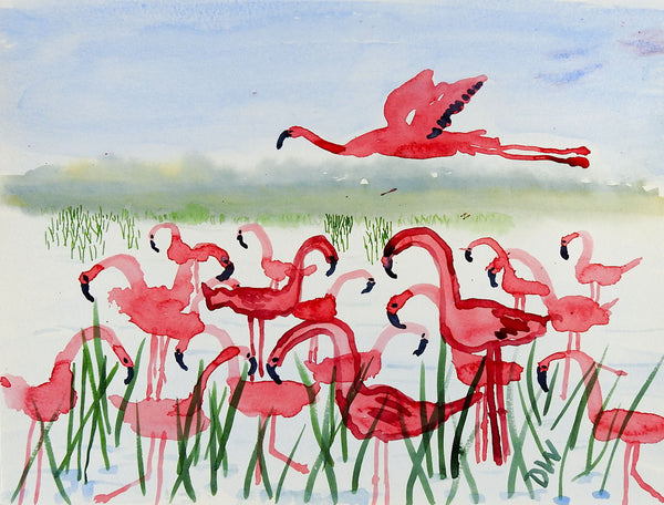Pink Flamigos Watercolor Painting