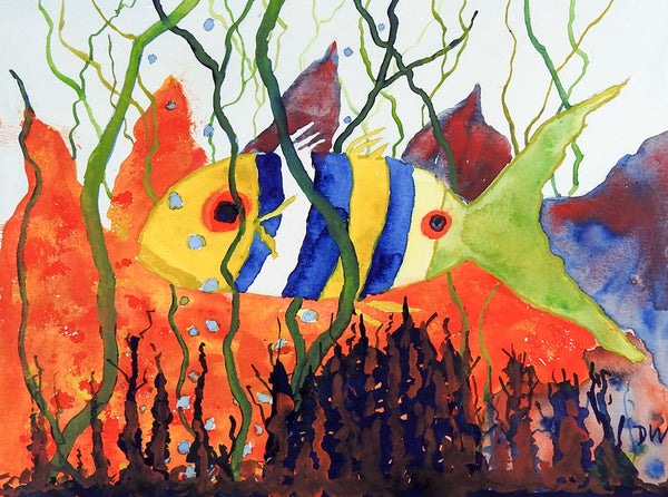 Fancy Fish Watercolor Painting
