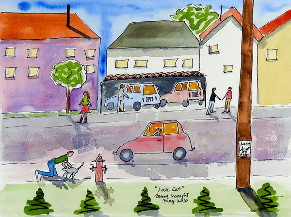 Busy Neighborhood Watercolor Painting