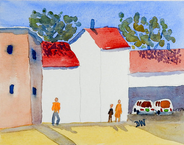 Sunny Neighborhood Watercolor Painting